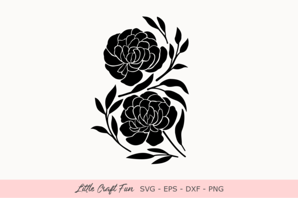 Print on Demand:  Peonies Silhouette Graphic Crafts By Little Craft Fun