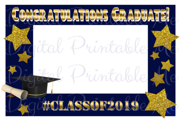 Download Free Photo Booth Frame Graduation Navy Blue Graphic By for Cricut Explore, Silhouette and other cutting machines.