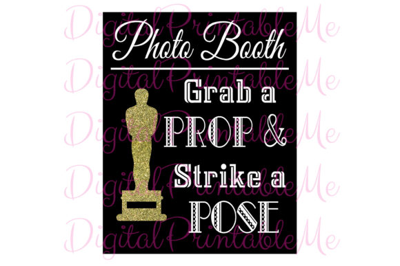 Photo Booth Sign Award Black Gold Movie Graphic Crafts By DigitalPrintableMe