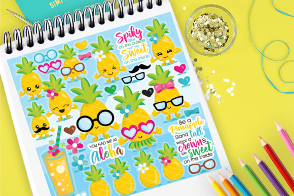 Print on Demand: Pineapple Family Graphic Illustrations By Prettygrafik
