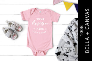 Pink Bella Canvas 100B Baby Romper Mock Graphic Product Mockups By lockandpage