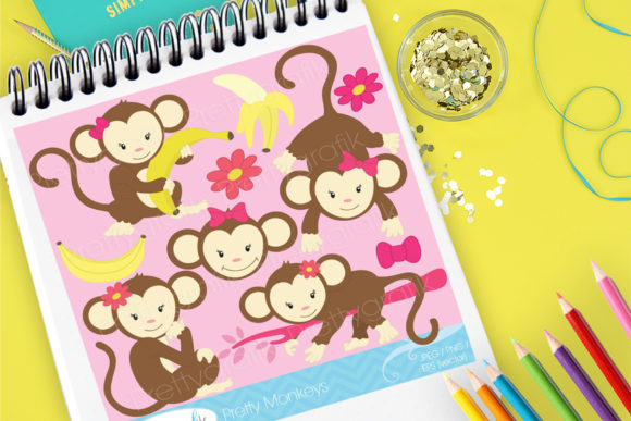 Print on Demand: Pink Bowtie Monkies Graphic Illustrations By Prettygrafik