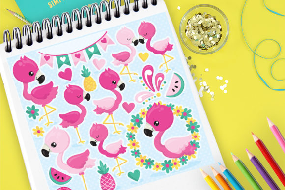 Print on Demand: Pink Flamingo Family Graphic Illustrations By Prettygrafik