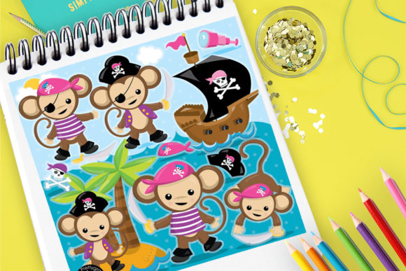 Print on Demand: Pink Monkey Pirates Graphic Illustrations By Prettygrafik