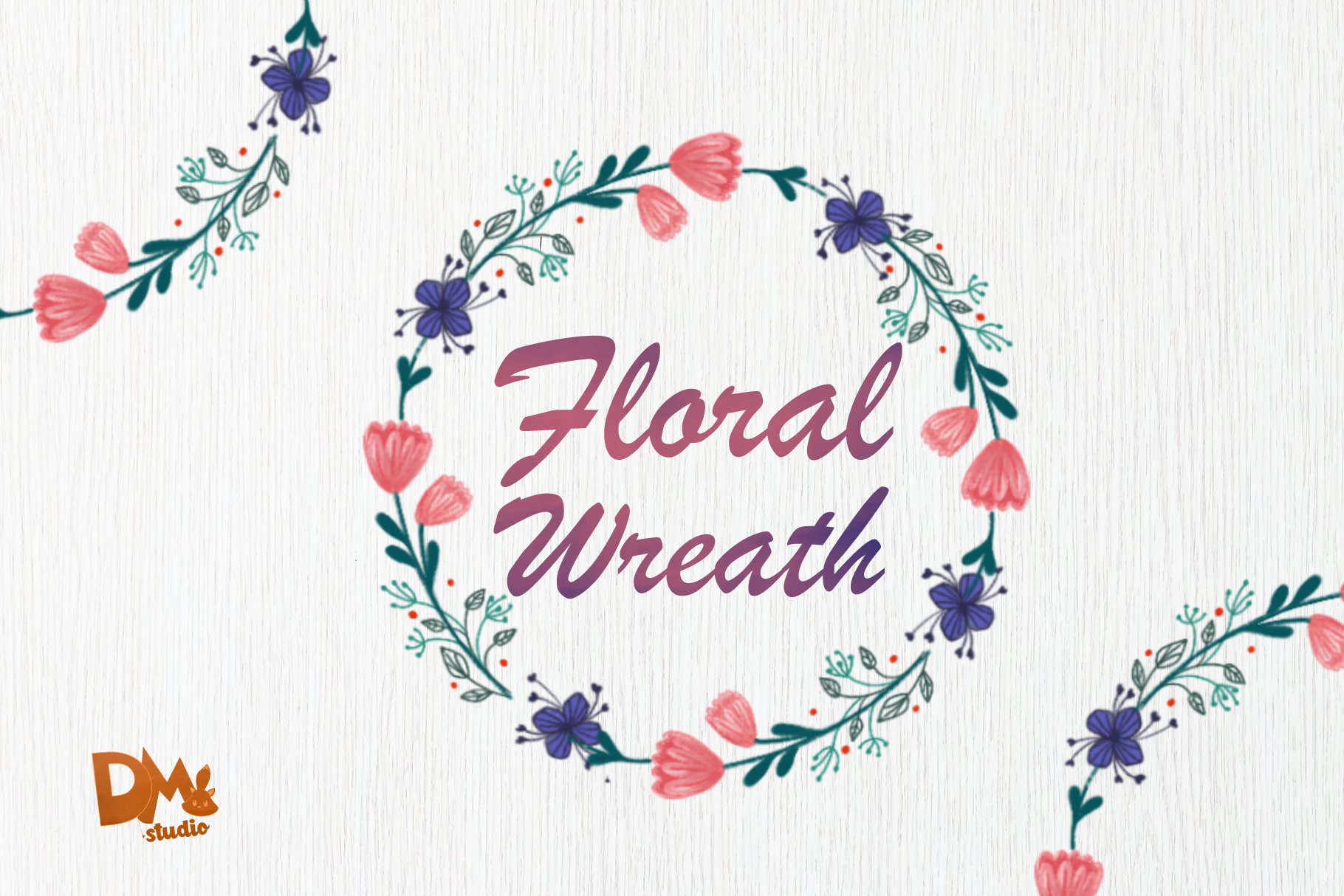 Download Free Pink Purple Flower Wreath Graphic By Sharon Dmstudio for Cricut Explore, Silhouette and other cutting machines.