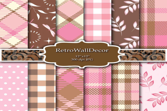 Pink Tartan Texture Digital Papers Graphic By retrowalldecor