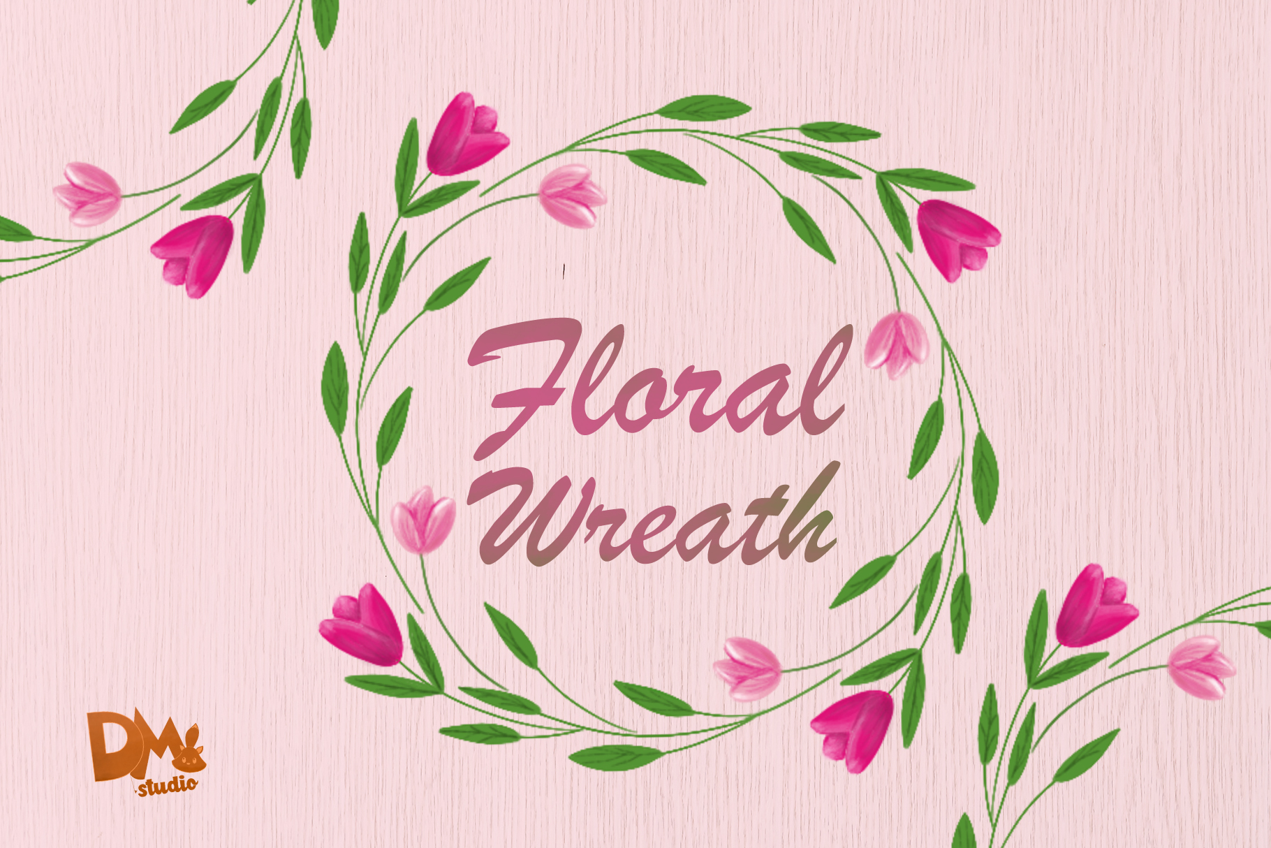 Download Free Pink Tulip Flower Wreath Graphic By Sharon Dmstudio for Cricut Explore, Silhouette and other cutting machines.