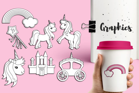 Download Free Pink Unicorn Party Graphic By Revidevi Creative Fabrica for Cricut Explore, Silhouette and other cutting machines.