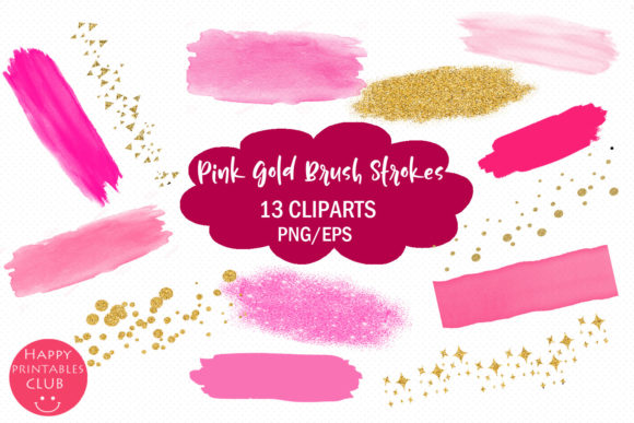 Pink and Gold Brush Strokes Clipart