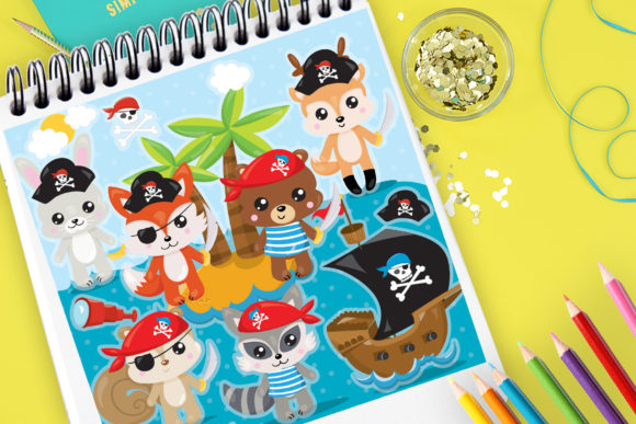 Print on Demand: Pirate Animals Graphic Illustrations By Prettygrafik