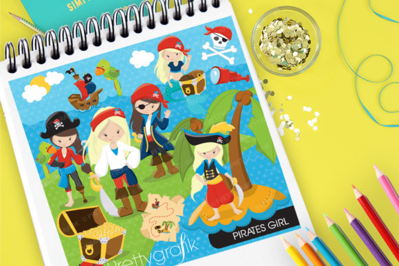 Print on Demand: Pirates Girl Clip Art Set Graphic Illustrations By Prettygrafik