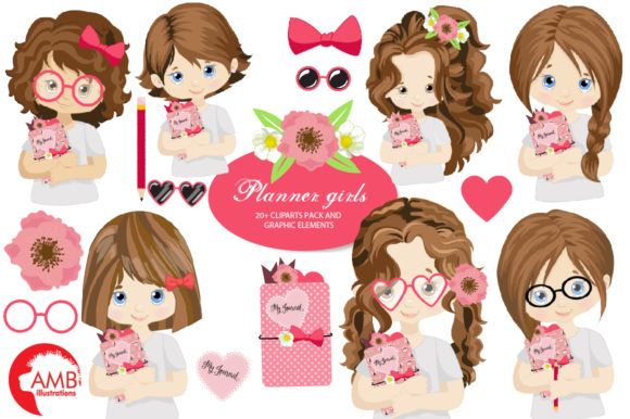 Planner Girls Clipart AMB-2164 Graphic Illustrations By AMBillustrations - Image 1