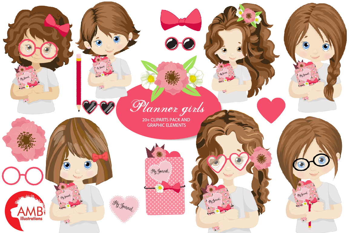 Download Free Planner Girls Clipart Amb 2164 Graphic By Ambillustrations for Cricut Explore, Silhouette and other cutting machines.