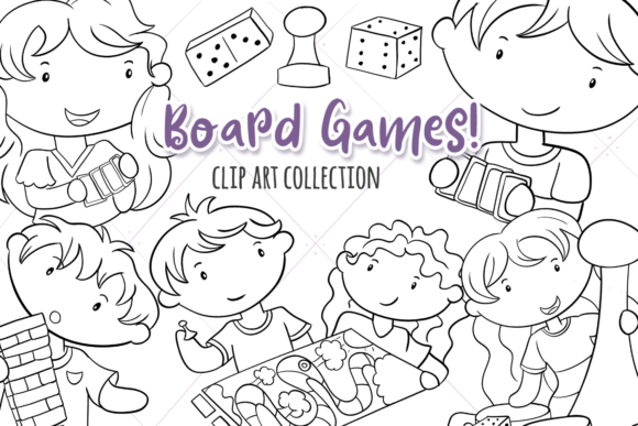 Print on Demand: Playing Board Games (Black and White) Graphic Illustrations By Keepinitkawaiidesign