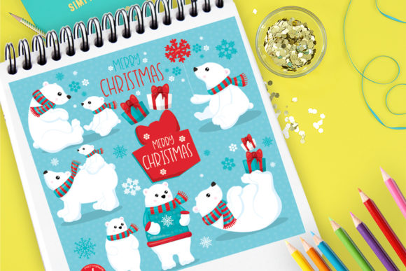 Print on Demand: Polar Bear Christmas Graphic Illustrations By Prettygrafik
