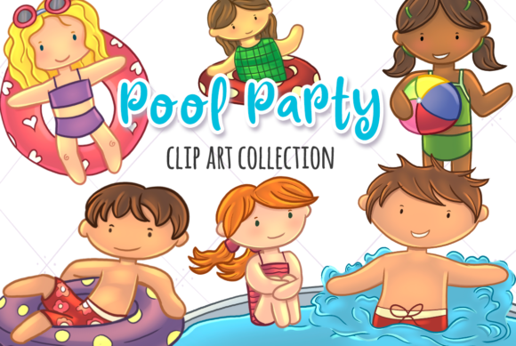 Print on Demand: Pool Party Graphic Illustrations By Keepinitkawaiidesign
