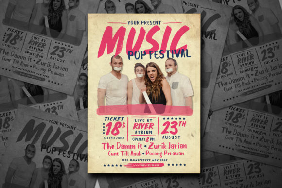 Pop Music Festival Graphic Print Templates By muhamadiqbalhidayat
