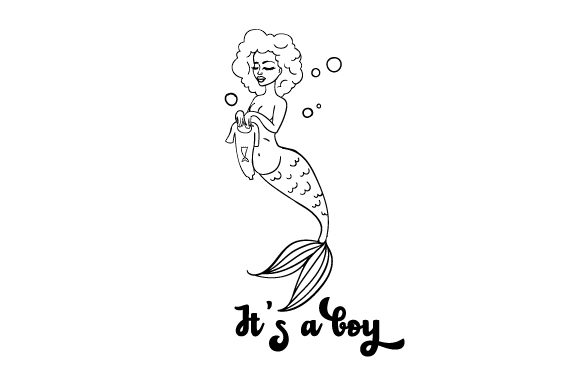 Download Free Pregnant Mermaid Holding Up A Baby Mermaid Romper Suit Its A Boy for Cricut Explore, Silhouette and other cutting machines.