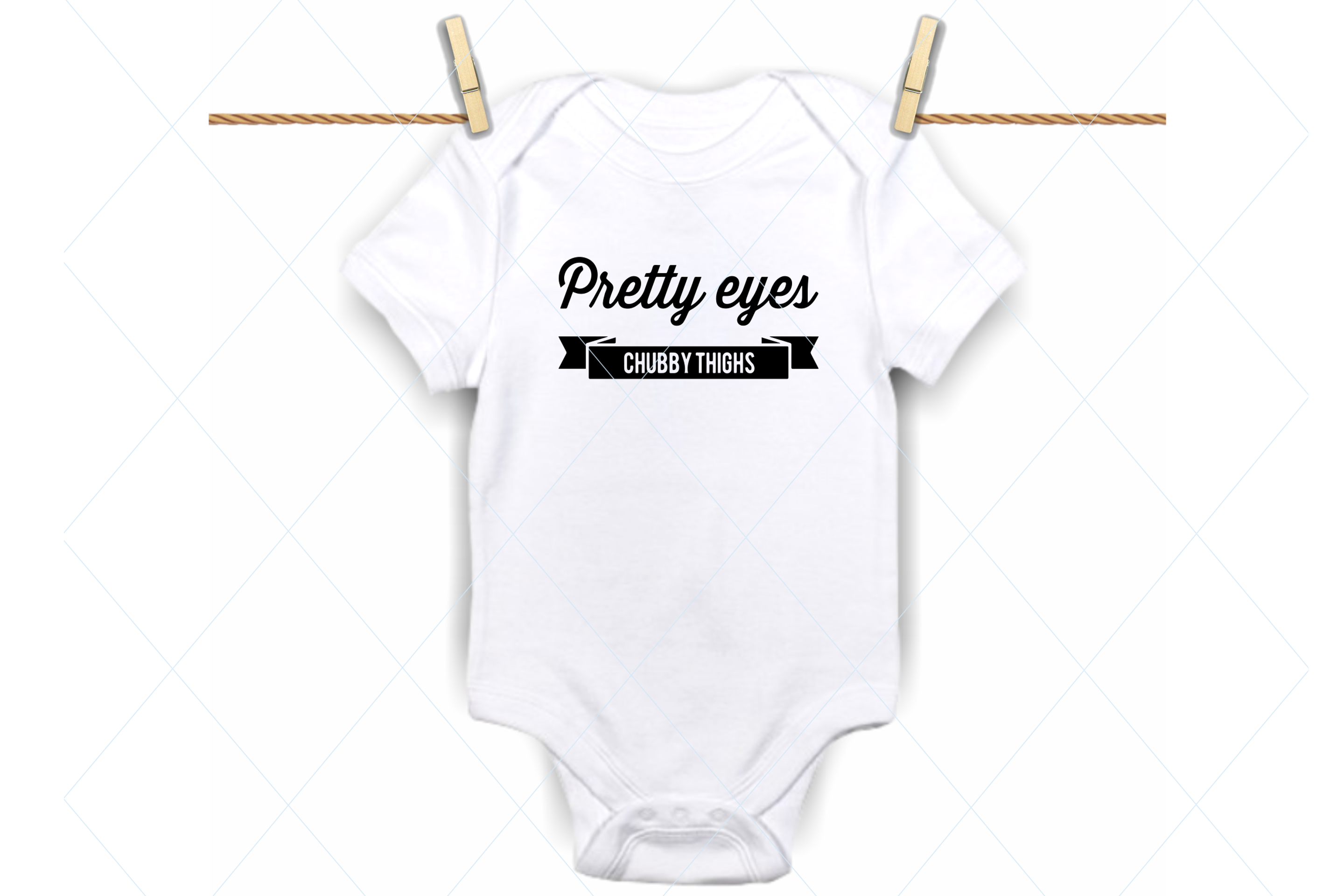 Download Free Pretty Eyes Chubby Thighs Onesie Svg Graphic By Thelovebyrds for Cricut Explore, Silhouette and other cutting machines.