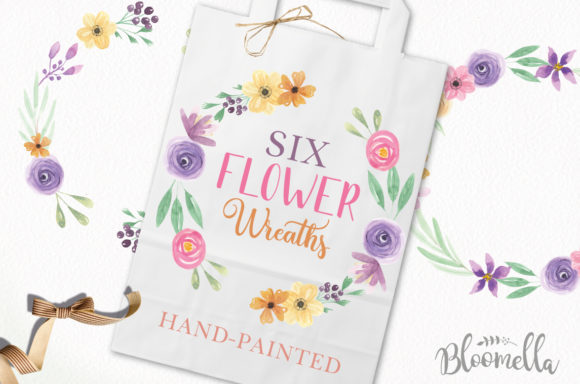 Pretty Floral Wreaths Watercolor Flowers Graphic By Bloomella