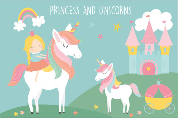 Print on Demand: Princess and Unicorns Clipart Graphic Illustrations By poppymoondesign