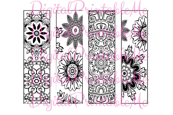 Printable Bookmark Coloring Page Mandala Gráfico Crafts Por DigitalPrintableMe