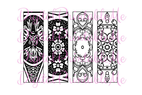 Print on Demand: Printable Bookmark Coloring Page Mandala Graphic Coloring Pages & Books Adults By DigitalPrintableMe