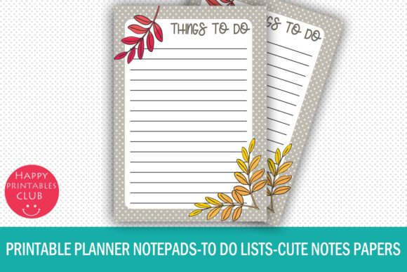 Print on Demand: Printable Planner Notepads-to Do Lists Graphic Crafts By Happy Printables Club - Image 1