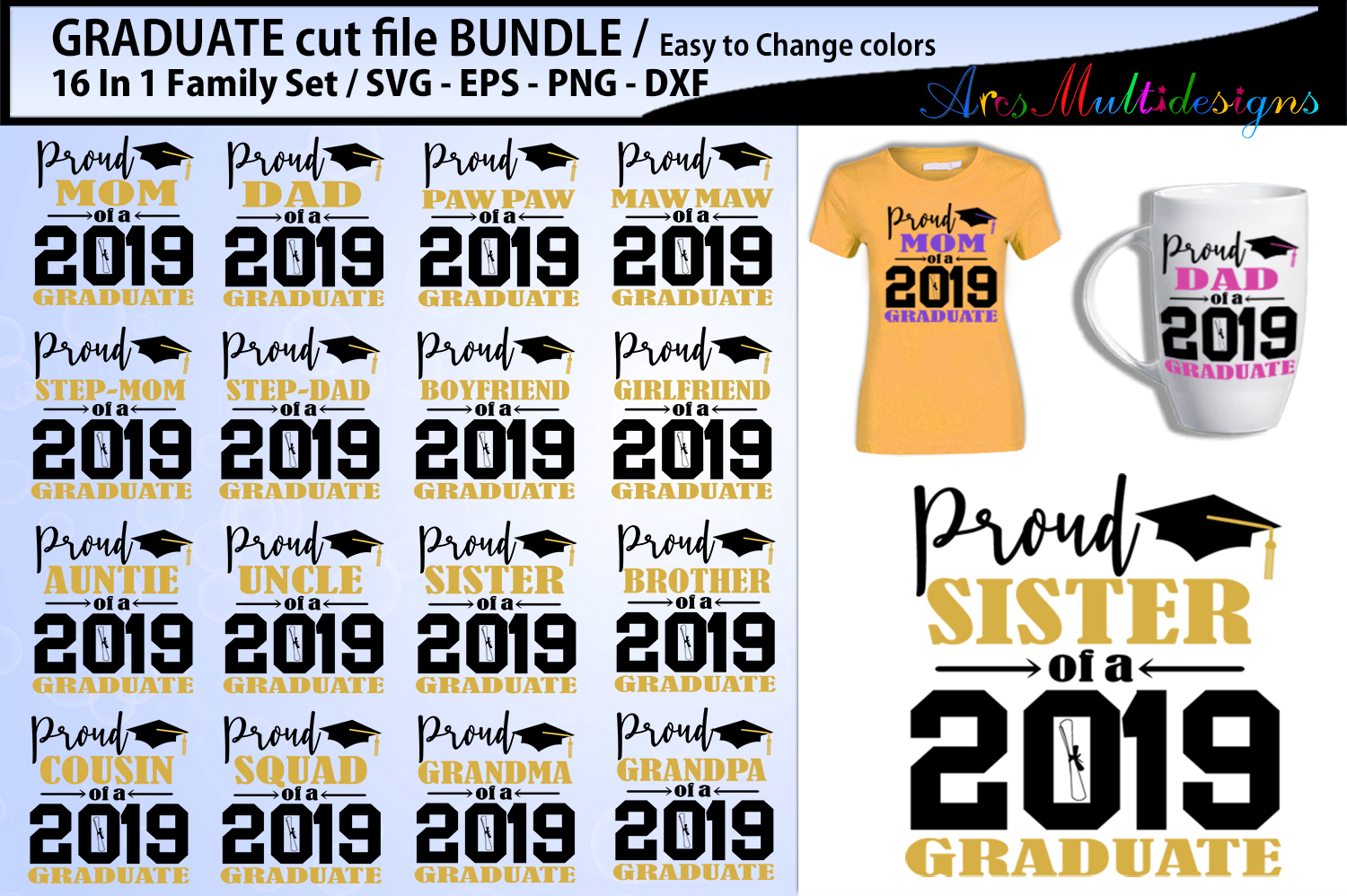 Download Free Proud Graduate Svg Cut File Bundle Graphic By Arcs Multidesigns for Cricut Explore, Silhouette and other cutting machines.