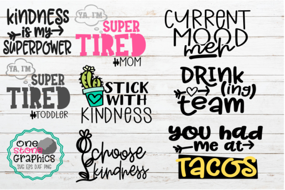 Quote Bundle Tshirt Designs Graphic Crafts By OneStoneGraphics