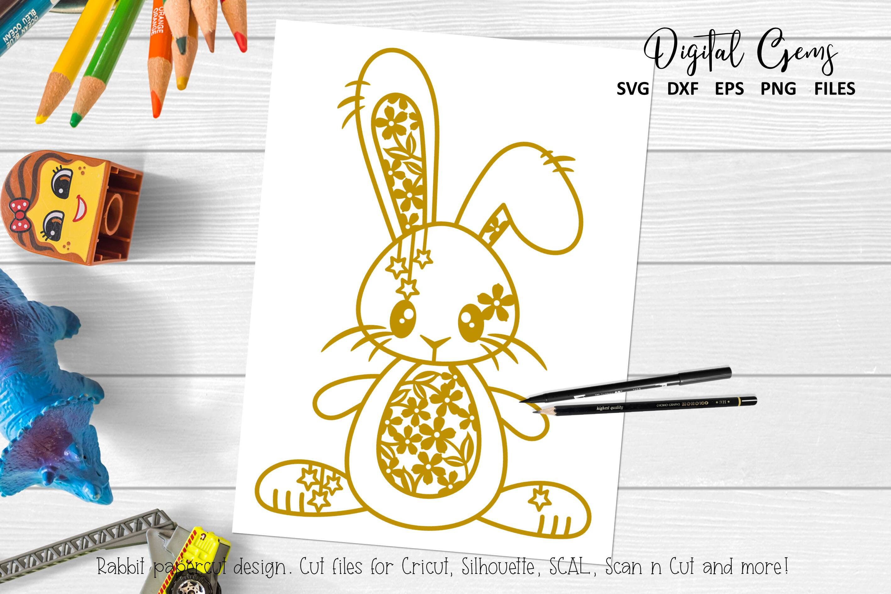 Download Free Rabbit Paper Cut Design Graphic By Digital Gems Creative Fabrica for Cricut Explore, Silhouette and other cutting machines.
