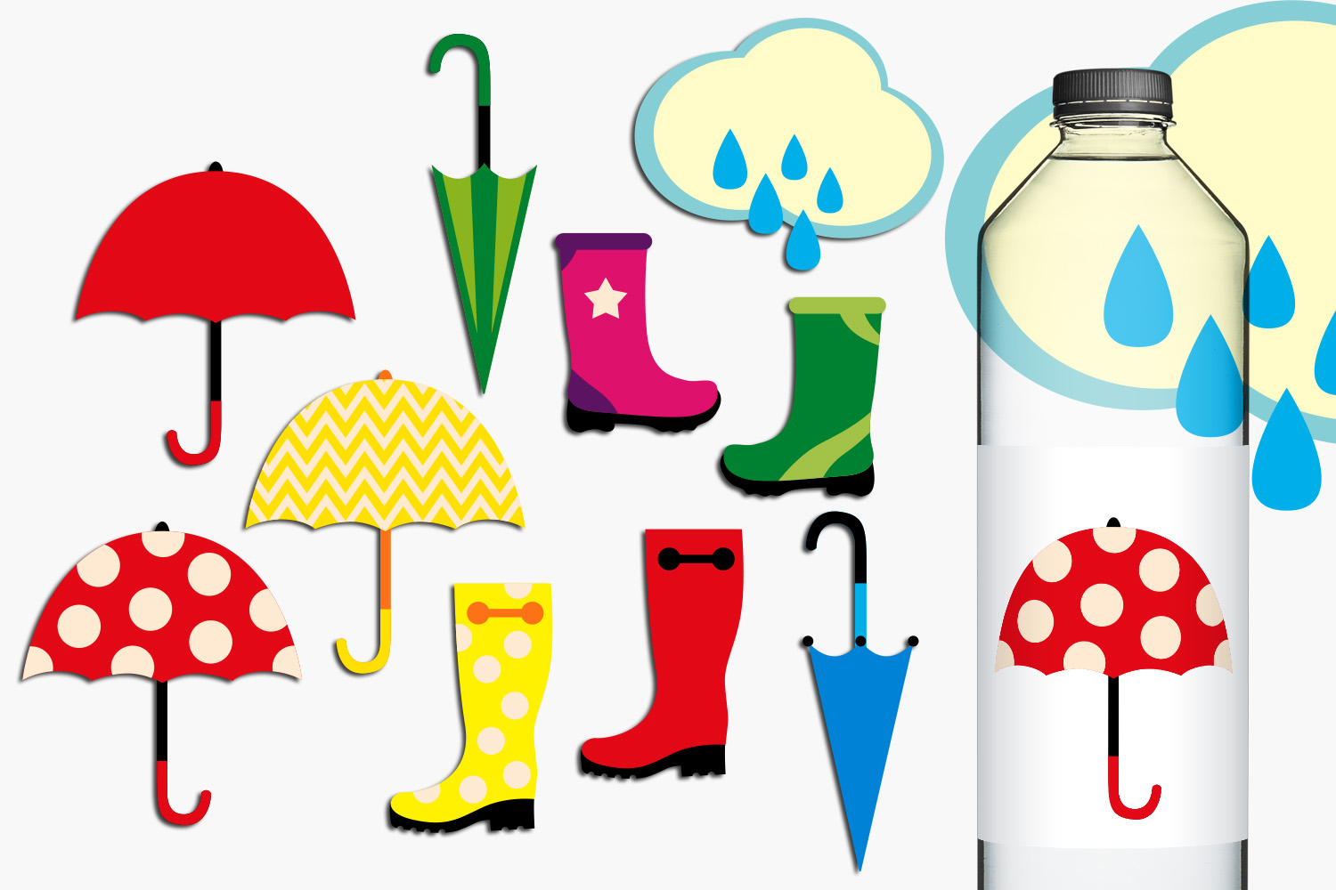 Download Free Rain Boots And Umbrellas Graphic By Revidevi Creative Fabrica for Cricut Explore, Silhouette and other cutting machines.