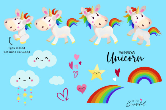 Rainbow Unicorn Clipart Collection Graphic Illustrations By usefulbeautiful - Image 2