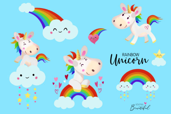 Rainbow Unicorn Clipart Collection Graphic Illustrations By usefulbeautiful - Image 3