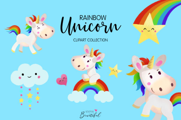 Rainbow Unicorn Clipart Collection Graphic Illustrations By usefulbeautiful