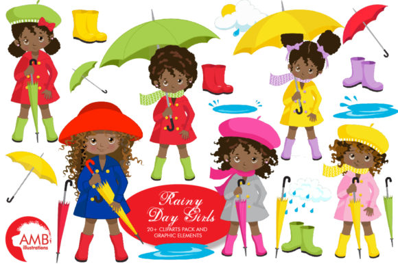 Rainy Day Girls Clipart AMB-2142 Graphic Illustrations By AMBillustrations