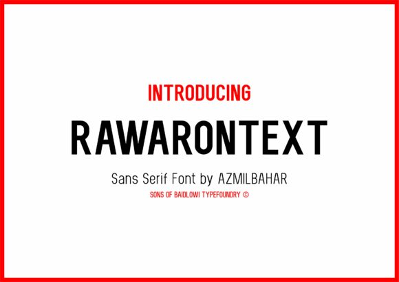 Print on Demand: Rawarontext Sans Serif Font By Brothers Graphic