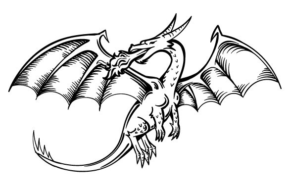Realistic Dragon Breathing Fire in Black and White
