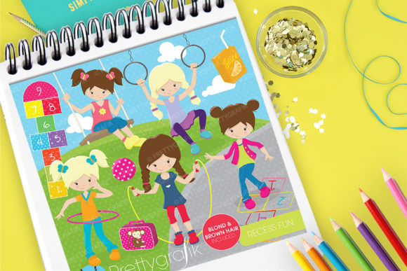 Print on Demand: Recess Fun Clip Art Graphic Illustrations By Prettygrafik