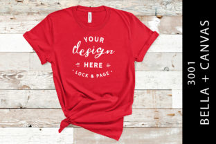 Red Bella Canvas 3001 T Shirt Flat Lay Graphic Product Mockups By lockandpage