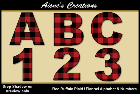 Print on Demand: Red Buffalo Plaid Alphabet & Numbers Graphic Illustrations By Aisne
