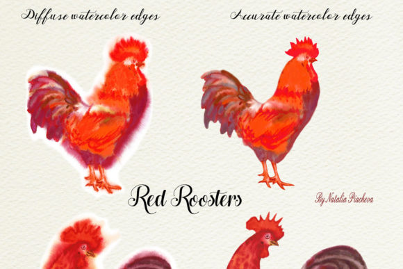 Download Free Red Roosters Red Watercolor Clipart Grafico Por Natalia Piacheva for Cricut Explore, Silhouette and other cutting machines.