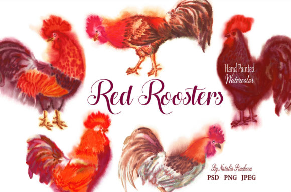 Print on Demand: Red Roosters Red Watercolor Clipart Graphic Illustrations By natalia.piacheva