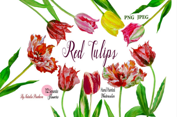 Print on Demand: Red Tulips Flowers. Watercolor ClipArt Graphic Illustrations By natalia.piacheva