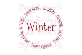 Download Free Red Winter Snow Days Mittens Circle Graphic By for Cricut Explore, Silhouette and other cutting machines.