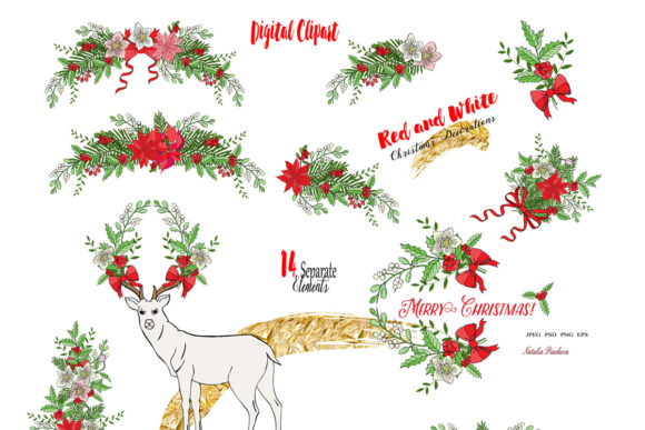 Download Free Red And White Christmas Digital Clipart Graphic By Natalia Piacheva Creative Fabrica for Cricut Explore, Silhouette and other cutting machines.