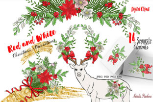 Red and White Christmas Digital Clipart Graphic By natalia.piacheva