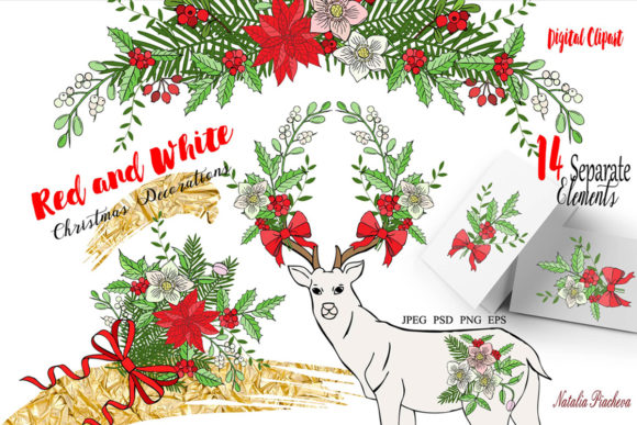 Print on Demand: Red and White Christmas Digital Clipart Graphic Illustrations By natalia.piacheva