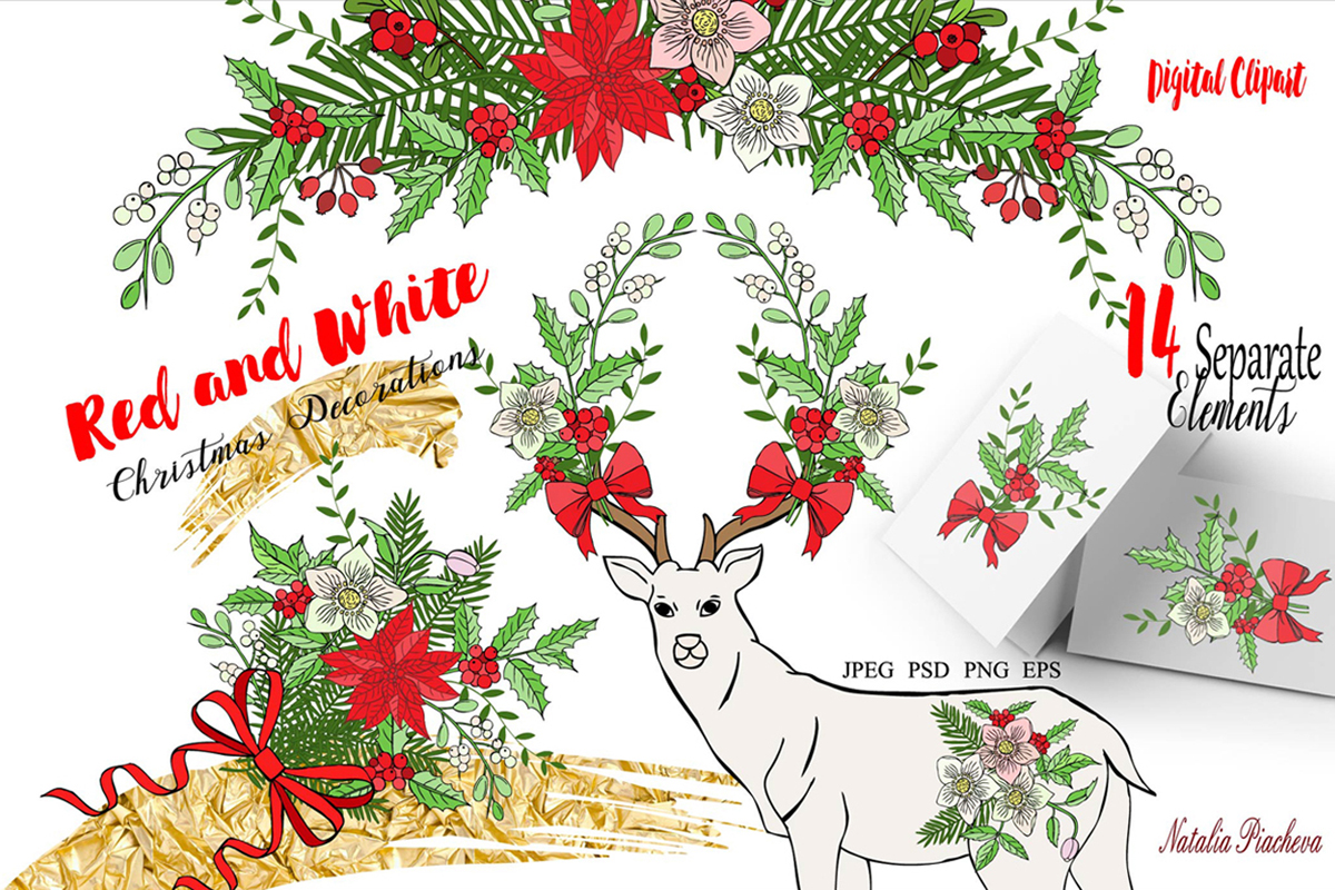 Download Free Red And White Christmas Digital Clipart Graphic By Natalia Piacheva Creative Fabrica SVG Cut Files