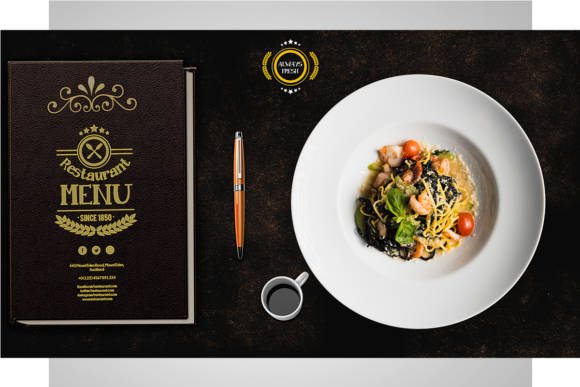 Print on Demand: Restaurant Menu Flyer PSD Template Graphic Print Templates By PakpahanMarg